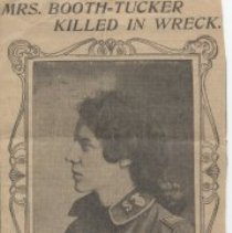 Image of A newspaper clipping dated October 29, 1903 reporting the death of Mrs. Emma Booth-Tucker in a railway accident in Missouri.   She was 43 years old.