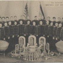 Image of A post card with an image of the Salvation Army Territorial Staff Band of New York.  Advertising message on the rear of the card relates to instruments for sale through the Army.