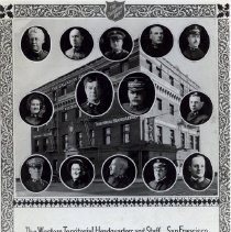 Image of A postcard depicting the Western Territorial Headquarters Building in San Francisco, California.  Cameos of staff members appear on the card as well.   Cameos of staff members are also found in the War Cry, December 24, 1921. Top row (l-r): George H. Davis, John W. Cousins, William Guard, Andrew Crawford, Thomas Scott Middle row (l-r): Bessie Smith, Adam Gifford, William J. Barnard Turner, William J. Dart Bottom row (l-r): Ashley B. Pebbles, Margaret Ashley Pebbles, Emil Marcussen, Arthur E. Armstrong, Albert E. Widgery