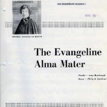 """Image of 1980.1 - Sheet music for """"The Evangeline Alma Mater"""" with words by Joan Baumbaugh and music by Philip B. Catelinet."""