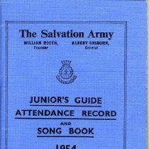 """Image of 1980.1 - This is a Junior's Guide Attendance Record and Song Book from 1954. The Guide gives """"Responsive excercises"""", prayers, """"Directory Studies"""", The Junior Soldier's Pledge, International Company Orders, 102 songs and 8 choruses."""