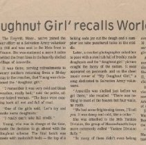 Image of 1980.1 - A newspaper clipping with an interview with Stella Young and her  experiences in France during World War I and how she became known as the first Salvation Army Doughnut Girl.
