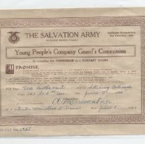 Image of Young People's Company Guard's Commission for Vera B. Marts of Sterling, Colorado, dated June 7, 1922.