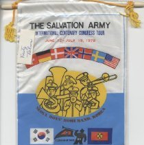 Image of A colorful miniature banner advertising the Seoul Boys Homeband in Korea for the International Centenary Congress tour. - June 12-July 19, 1978