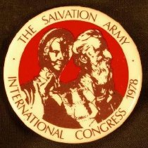"""Image of A circular pin with a sketching of Catherine and William Booth with the inscription """" The Salvation Army International Congress 1978."""" -"""