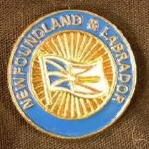 Image of A blue circular pin with the flag of Newfoundland and Labrador. -