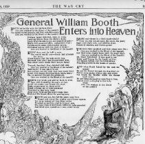 """Image of A photocopy of an article from the War Cry.  The title of the  article was """"General William Booth Enters into Heaven"""".  The article was written by Vachel Lindsay (it was written at the Time of the Founder's Promotion to Glory)."""