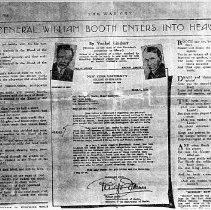 """Image of An article from the War Cry dated April 7, 1934.  The articles was about """"General William Booth Enters into Heaven"""".   It was a poem written by Vachel Lindsay."""