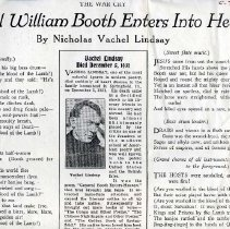 Image of An poem in the War Cry about General William Booth entering Into Heaven, written by Vachel Lindsay.  Included in this article was also a Obituary about the writer Vachel Lindsay who died December 5, 1931.  Mr. Lindsay was one of the most colorful figures in modern poetry, died from heart disease in the family homestead in Springfield, Illinois.