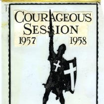 Image of A 7 x 11 vellum template that was used for the cover of the Commissioning Booklet for the Courageous Session - 1957-1958.  The template displayed a knight holding a sword and shield.   The shield  and his apparrel had a cross.