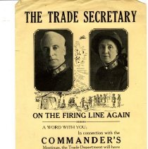 """Image of A bulletin from the Trade Secretary, Brigadier Allison Coe.  The bulletin was entitled """"The Trade Secretary"""" .  It basically stated that in connection the Commander's Meetings, the Trade Department will have a line of goods to satisfy the needs of the officers.  The Trade stall will be held at D.H.Q., Los Angeles, Saturday, Feb. 7 - Monday, Feb. 9."""