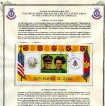 Image of Certificate  -  Zaire commemorates the 100th Anniversary of the Salvation Army in the United States of America.  In the center of the Certificate is a stamp from the Republique Du Zaire honoring the centennial of the Salvation in the U.S.A.  The first Salvation Army Corps was established in Kinshasa, the capital city, in 1934.  The Armee du Salut was given legal status in 1936.  Today, there are over 500 centers of service including 80 day schools and 9 dispensaires and clinics.