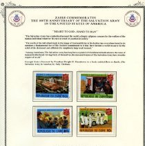 Image of A certificate from Ziare commemorating the 100th Anniversary of The Salvation Army in the United States.    In the center of the certificate are four stamps from the Republique Du Zaire commemorating the The Salvation Army.  The denomination of the stamps are 10k, 40k, 50s and 50z..    The stamps show the different facilities relating to the Booth Memorial Medical Center.   The Booth Memorial Medical has grown from a rescue home for women with accomodations for 26, to its present size and sophistication supplying a full range of medical services