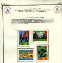 Image of A certerificate from Zaire commemorating the 100th Anniversary of The Salvation Army in the United States.  In the center of the certificate are four stamps from the Republique Du Zaire honoring the works of The Salvation Armys ministry.    The different denominatins of the stamps are:  2z, 4.50k, 75k and 20k.   One stamp has an inset of Evangeline Booth.  General Evangeline Booth, the fourth daughter of the founders William and Catherine Booth, served as Command of The Army in the United States for 30 years before becoming The Army's fourth general and the only woman to hold that office.