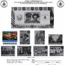 Image of A work order was available to purchase the stamps from Zaire  that were listed in the Certiticates  Commemorating the 100th Anniversary of the Salvation Army in the U.S.A. was availble.  The checks were to be payble to the Booth Memorial Medical Center.