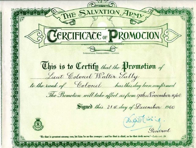 certificate of promotion issued by the international headquarters