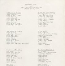 """Image of A list of brigades with the attending cadets and officers listed on it  to a """"Long Field Training Weekend"""" on January 19 - 21, 1979."""