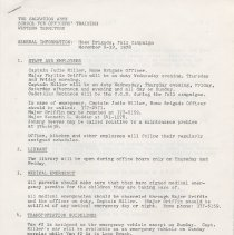 Image of A document containing general information about the Home Brigade for the Fall Campaign.  Including emergency contacts, who is responsible for childcare and which officers are responsible for driving.