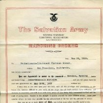 """Image of A certificate of Marching Orders given to Probationary-Lieutenant Florence Brewer issued by Commissioner Adam Gifford.  The orders state that she is to """"assist in the command of Rawlins, Wyoming Senior and Junior Corps, Inter-Mountain Division."""""""