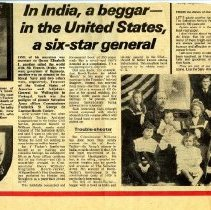 """Image of War Cry newspaper clipping  with headline """"In India, a beggar--in the United States, a six-star general.  The article  talks about the newly released biography of Booth-Tucker, William Booth's First Gentleman, which had just been published by Hodder and Stoughton as a paperback priced at 1.75.  The clipping also shows the cover of the booklet, the  Tucker family Coat of Arms and a picture of the family."""