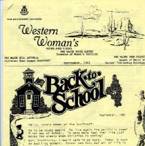 """Image of Southwest Division Newsletter, entitled Western Woman's News and Views"""", dated September, 1981.    Mrs. Major Bruce Harvey, Director of Women's Services; Mrs. Major John Pearson, League of Mercy & Nurses' Fellowship Secretary; and Mrs. Major Bill Luttrell, Assistant Home League Secretary are contributors."""