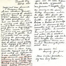 Image of A letter to Major and Mrs. Somervell, 3208 N. Wilson Ave., Tucson, Arizona from a Viola Jimulla, Box 1390, Prescott, Arizona.  The letter was written by Mrs. Lucy Miller on behalf of Viola Jimulla.   It was also rewritten from the original letter mailed.   The letter described the interaction between Major Somervell, who was the first missionary to come to the samll Yavapai Camp and was instrumental in contacting Joseph L. Wellington who was an Indian prebsbyterian preacher.  He came to Prescott and baptized Mrs. Jimulla and Bessie Williams.