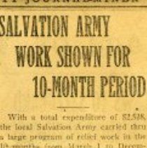 Image of Newspaper clipping from the Prescott Journal-Miner in regards to the Salvation Army's Work shown for a 10-month period in the Prescott area.  The article reflected the total expenditures the local Salvation Army carried through a large program of relief wotk in the 10-months from March 1 to December 31, 1922, as shown in a report made public yesterday by Cadet Somervell.
