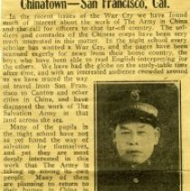 Image of News clipping from the War Cry about Chinatown in San Francisco, CA.  The article refers to Brother Loey Goey, who has been a Salvationists for over twenty-two years, and his work in San Francisco.