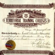 Image of Certificate issued to Cadet Blanche Edmiston who passed the Women's Training College with the grade of Good for Lessons at the Salvation Army Territorial Training College, Chicago, Ill on January 13, 1916.  Certificate was signed by Bessie B. Smith, Chief Officer.