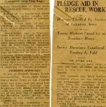Image of A newspaper clipping about disaster and the Salvation Army's Pledge to aid in Rescue Work.  Name and date of Newspaper is unknown.   Condition of the news clipping is quite fragile.