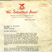 Image of Letter from Lt. Col. William P. Sanson Field Secretary, The Salvation Army, San Francisco, CA., Western Territory to Adjutant E. Somervell, Globe, Arizona.  Letter was addressing Lt. Col. & Mrs. Sanson's visit to Globe and the advancements made in Globe.