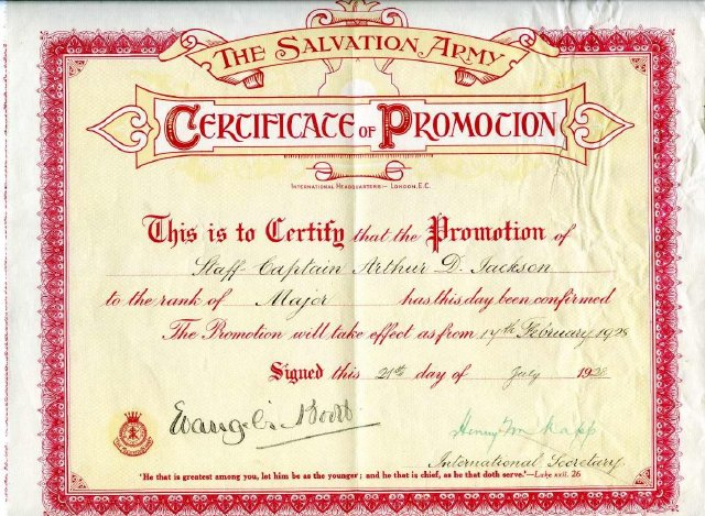 certificate of promotion issued by the salvation army international