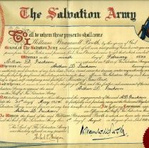 Image of A certificate appointed Arthur D. Jackson an Officer of the Salvation Army on 9 February 1899 and further advanced Arthur D. Jackson as an Officer on the Staff of the Salvation Army.  The certificate was effective 3l May 1924 and witnessed by the hand of William Bramwell Booth to which the seal of The Salvation Army was affixed to the certificate on 1 August 1924.  The Seal of The Salvation Army was this day affixed in my presence - Herbert S. Hodgson and signed by W. Bramwell Booth.