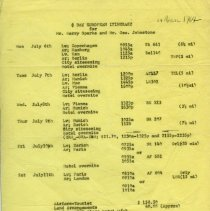 Image of A typed itinerary for the Hollywood Tabernacle Band's European tour.