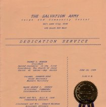 Image of A scanned and emailed copy of the 1988 Dedication Service held in Salt Lake City.  Digital images supplied by Robert Callet.