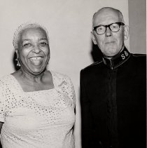 Image of A B&W photograph of General Frederick Couttes posing with famous jazz/blues singer Ethel Waters.