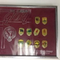 """Image of A pin collection from th 1987 """"Give to Jesus Glory"""" Congress, featuring pins from each division/command.   -"""