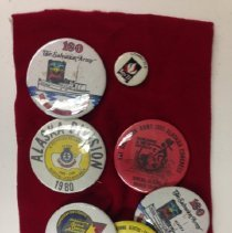 Image of A pin collection including a number of pins from Alaska Congresses in 1980, 1982, 1983, 1984 and 1985.   -