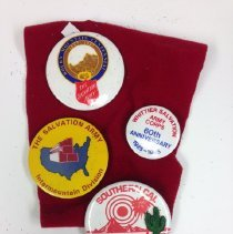 Image of A pin collection including pins from the following events:  Intermountain Division Centennial, 1987 Southern California Divsion Centennial 1983 Whittier Corps 60th Anniversary 1985  -
