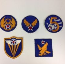 Image of Various Air Force patches, worn during the WWII era.  -