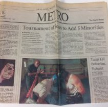 Image of 2016.1010 - A copy of the Los Angeles Times Metro section covering ongoing board diversification at the Tournament of Roses.