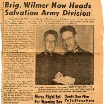 """Image of A newspaper clipping from the Rocky Mountain News with the title """"Brig. Wilmer Now Heads Salvation Army Division."""""""