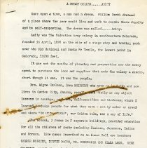 """Image of A paper entitled """"A  Dearm Called...Amity,"""" (8 pages). Author unknown."""
