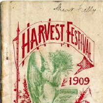 """Image of A booklet entitled, """"Harvest Festival : Hints for commanding officers."""" Includes suggestions for commanding Salvation Army officers on planning Harvest Festival celebrations. It was published for the 1909 Harvest Festival effort. Booklet used by Capt. F. J. Munson in Great Falls, Montana."""