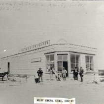 Image of A B & W photograph of Groceries and Dry Goods store in Amity, originally built by colonist James Childs. (2 copies)