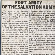 """Image of An article entitled, """"Fort Amity of The Salvation Army."""""""