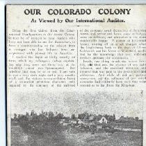 """Image of An article entitled, """"Our Colorado Colony: As viewed by Our International Auditor,"""" by Colonel Arthur Bates."""