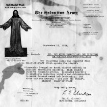"""Image of A letter about """"the High Council and the election of our new international head,"""" Commander Evangeline Booth."""