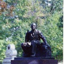Image of 2004.038.434 - Photograph of Albert Woolson's statue on the Gettysburg Battlefield.