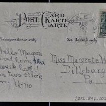 Image of Back side with message addressed to Miss Margrete White